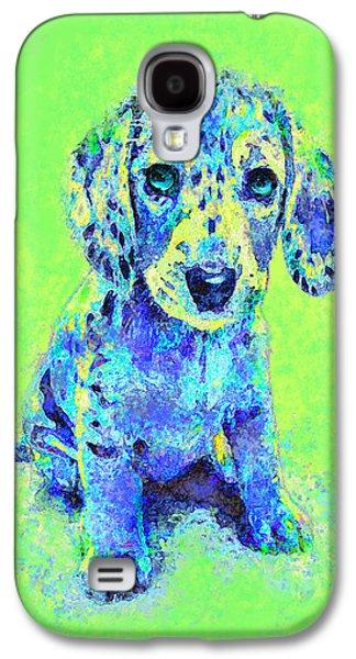Green And Blue Dachshund Puppy Galaxy S4 Case by Jane Schnetlage