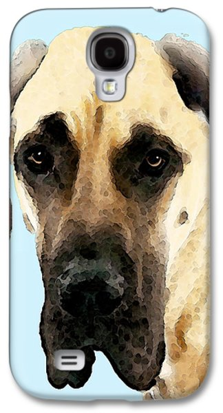 Dogs Digital Art Galaxy S4 Cases - Fawn Great Dane Dog Art Painting Galaxy S4 Case by Sharon Cummings
