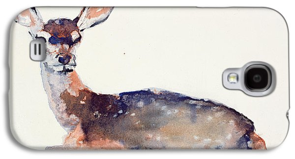 Animals Drawings Galaxy S4 Cases - Fawn Galaxy S4 Case by Mark Adlington