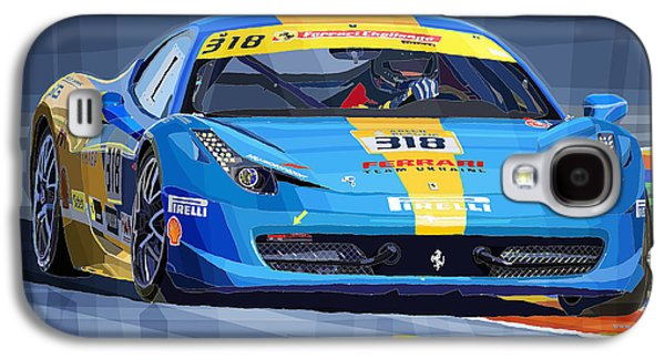 Realism Mixed Media Galaxy S4 Cases - Ferrari 458 Challenge Team Ukraine 2012 variant Galaxy S4 Case by Yuriy Shevchuk