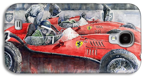 Mike Galaxy S4 Cases - Ferrari Dino 246 F1 1958 Mike Hawthorn French GP  Galaxy S4 Case by Yuriy  Shevchuk