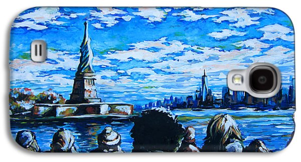 Democracy Paintings Galaxy S4 Cases - Ferry to Liberty Island Galaxy S4 Case by Angie Mendoza
