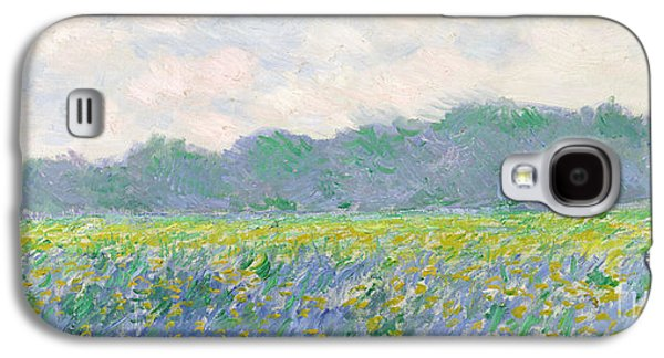 Purple Paintings Galaxy S4 Cases - Field of Yellow Irises at Giverny Galaxy S4 Case by Claude Monet