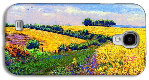 Yellow Paintings Galaxy S4 Cases - Fields of Gold Galaxy S4 Case by Jane Small