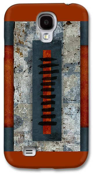 Square Format Digital Galaxy S4 Cases - Fiery Red and Indigo Two of Two Galaxy S4 Case by Carol Leigh