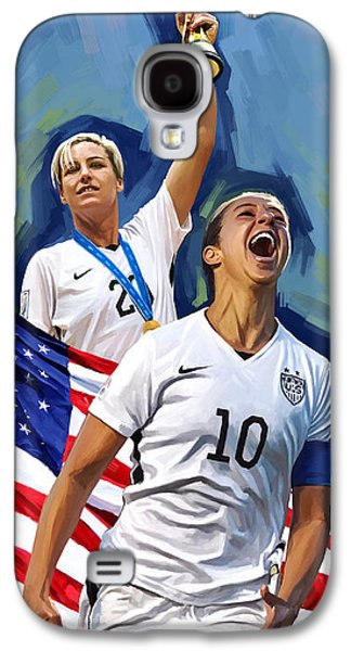 Olympic Gold Medalist Galaxy S4 Cases - FIFA World Cup U.S Women Soccer Carli Lloyd Abby Wambach Artwork Galaxy S4 Case by Sheraz A