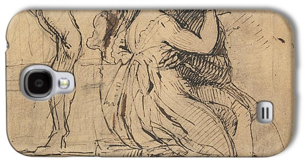 Figure Leaning Over Stairs Galaxy S4 Case by Henry Fuseli