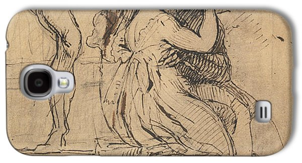 Swiss Drawings Galaxy S4 Cases - Figure Leaning over Stairs Galaxy S4 Case by Henry Fuseli