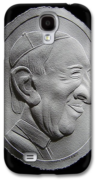 Drawing Reliefs Galaxy S4 Cases - Fingernail Relief Drawing Of Pope Francis Galaxy S4 Case by Suhas Tavkar