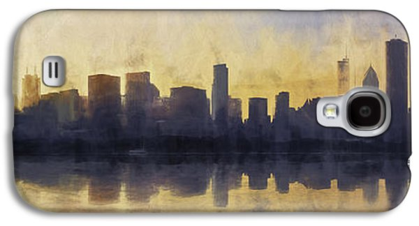 Abstract Digital Galaxy S4 Cases - Fire in the Sky Chicago at Sunset Galaxy S4 Case by Scott Norris
