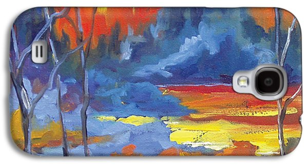 Canadiens Paintings Galaxy S4 Cases - Fire Lake Galaxy S4 Case by Richard T Pranke