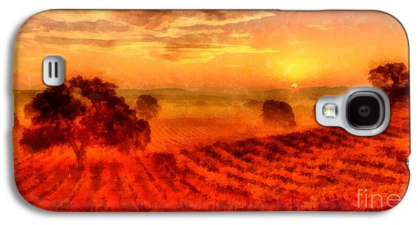 California Vineyard Galaxy S4 Cases - Fire of a New Day Galaxy S4 Case by Edward Fielding
