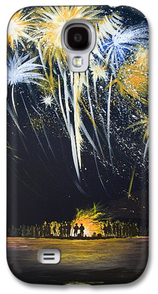 Fireworks Paintings Galaxy S4 Cases - Fireworks Bonfire on the West bar Galaxy S4 Case by Charles Harden
