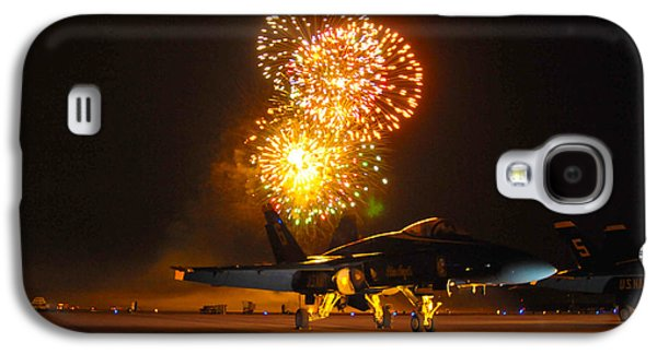 Fireworks Paintings Galaxy S4 Cases - Fireworks over FA-18 Hornet US Navy Galaxy S4 Case by Celestial Images