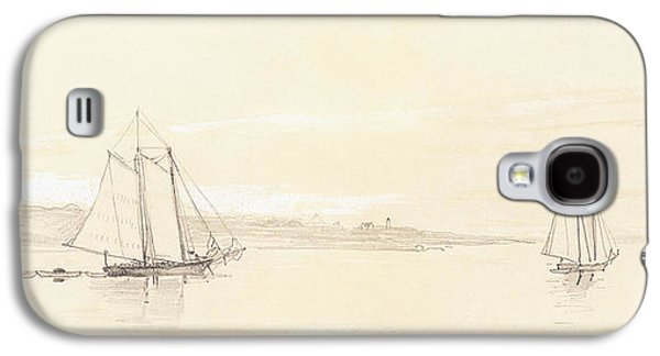 Sailboats Drawings Galaxy S4 Cases - Fishing Fleet at Gloucester Galaxy S4 Case by Winslow Homer