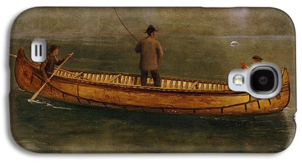 Pastimes Galaxy S4 Cases - Fishing from a Canoe Galaxy S4 Case by Albert Bierstadt