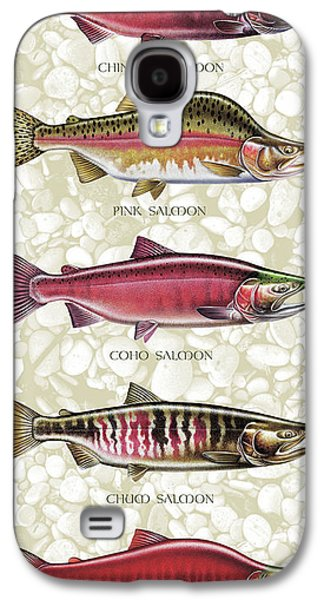 Salmon Paintings Galaxy S4 Cases - Five Salmon Species  Galaxy S4 Case by JQ Licensing