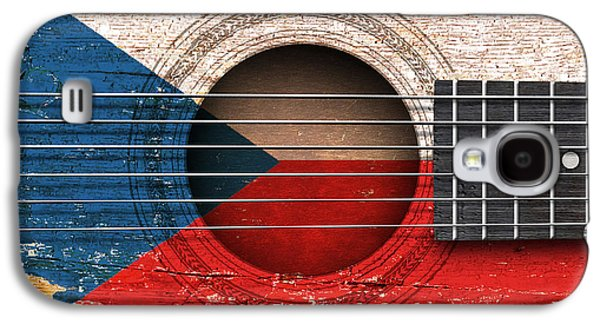 Czech Republic Digital Art Galaxy S4 Cases - Flag of Czech Republic on an Old Vintage Acoustic Guitar Galaxy S4 Case by Jeff Bartels