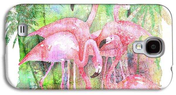 Flamingo Five Galaxy S4 Case by Arline Wagner