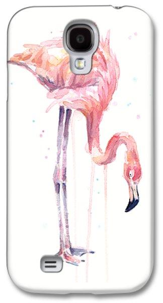 Flamingo Illustration Watercolor - Facing Left Galaxy S4 Case by Olga Shvartsur
