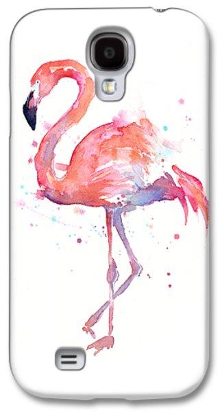 Flamingo Love Watercolor Galaxy S4 Case by Olga Shvartsur