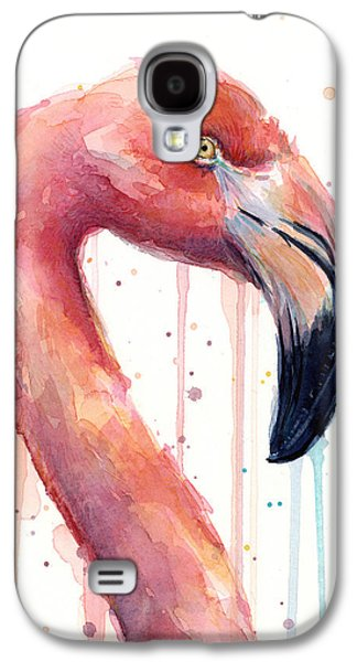 Flamingo Painting Watercolor - Facing Right Galaxy S4 Case by Olga Shvartsur