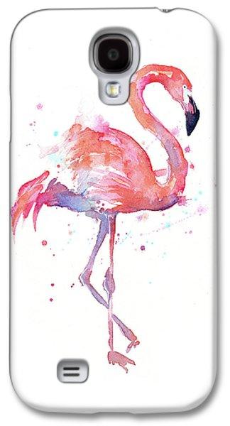 Flamingo Watercolor Facing Right Galaxy S4 Case by Olga Shvartsur