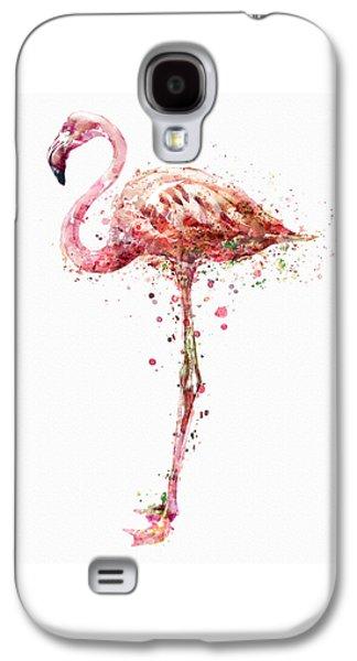 Modern Digital Digital Digital Galaxy S4 Cases - Flamingo Watercolor Painting Galaxy S4 Case by Marian Voicu