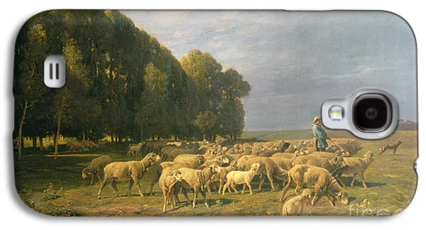Flock Of Sheep In A Landscape Galaxy S4 Case by Charles Emile Jacque