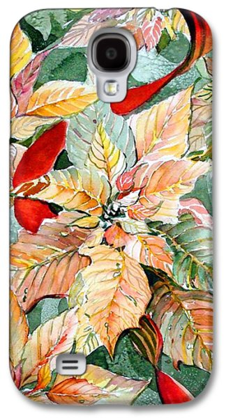 Peaches Drawings Galaxy S4 Cases - Flora Poinsettia Galaxy S4 Case by Mindy Newman