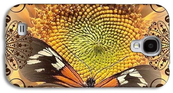Catherine White Digital Galaxy S4 Cases - Floral Framed Brown Butterfly Galaxy S4 Case by Catherine Lott