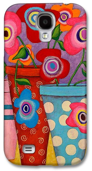Modern Abstract Paintings Galaxy S4 Cases - Floral Happiness Galaxy S4 Case by John Blake