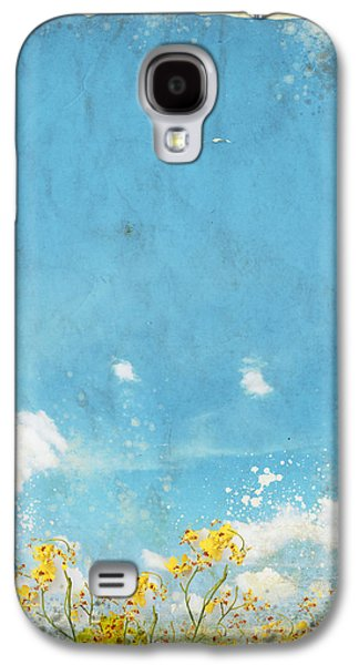 Manuscript Galaxy S4 Cases - Floral In Blue Sky And Cloud Galaxy S4 Case by Setsiri Silapasuwanchai