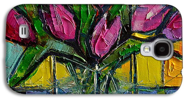 Floral Miniature - Abstract 0615 - Pink Tulips Galaxy S4 Case by Mona Edulesco