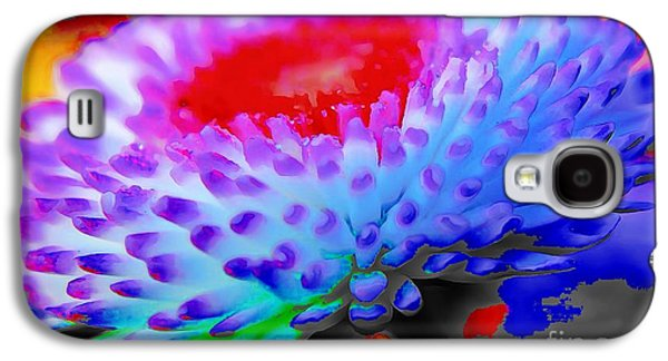 Catherine White Digital Galaxy S4 Cases - Floral Rainbow Splattered In Thick Paint Galaxy S4 Case by Catherine Lott