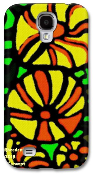 Abstract Digital Pastels Galaxy S4 Cases - Flower Concept and Leaf Surface V a Galaxy S4 Case by Gert J Rheeders