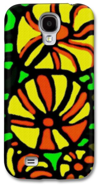 Abstract Digital Pastels Galaxy S4 Cases - Flower Concept and Leaf Surface V b Galaxy S4 Case by Gert J Rheeders