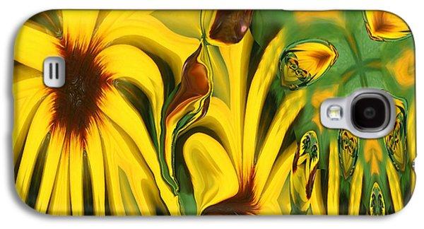Abstract Digital Art Galaxy S4 Cases - Flower Fun Galaxy S4 Case by Linda Sannuti