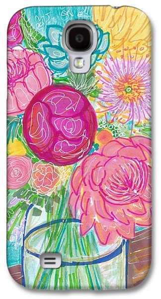Abstract Collage Drawings Galaxy S4 Cases - Flower in Vase Galaxy S4 Case by Rosalina Bojadschijew