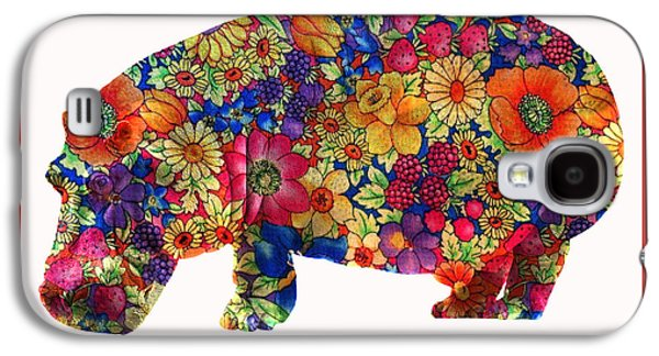Hippopotamus Digital Galaxy S4 Cases - Flower Power Hippie the Hippopotamus Galaxy S4 Case by Anthony Murphy