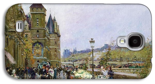 Flower Sellers By The Seine Galaxy S4 Case by Georges Stein