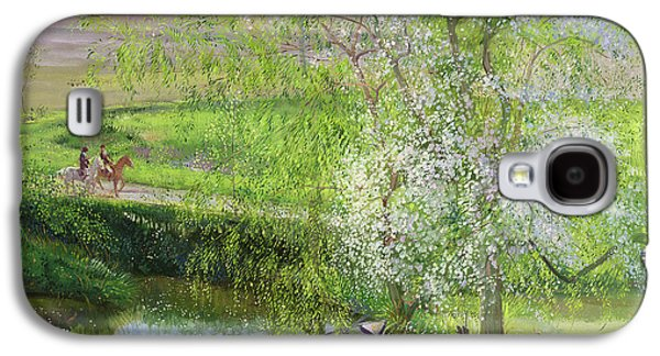 Flowering Apple Tree And Willow Galaxy S4 Case by Timothy Easton
