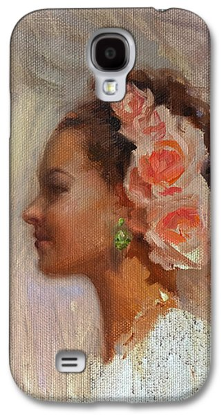 Updo Galaxy S4 Cases - Pretty Flowers - Portrait of Young Woman Galaxy S4 Case by Karen Whitworth