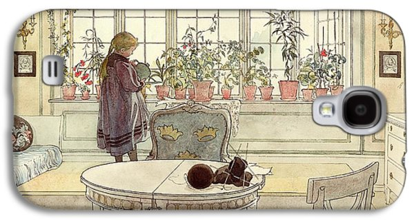 Flowers On The Windowsill Galaxy S4 Case by Carl Larsson