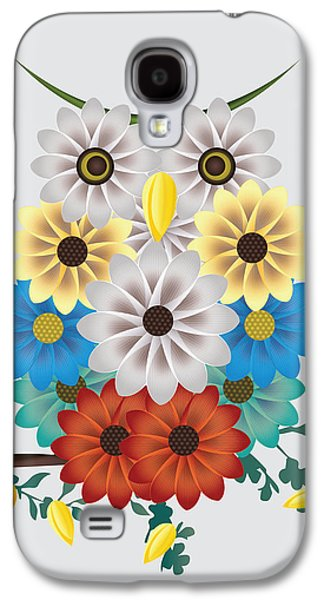 Abstract Digital Drawings Galaxy S4 Cases - Flowers or Owl? Galaxy S4 Case by Chiara Belmonte