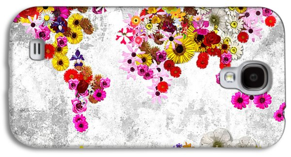 America The Continent Mixed Media Galaxy S4 Cases - Flowers World Map Galaxy S4 Case by Daniel Janda