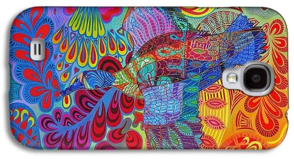 Yellow Beak Paintings Galaxy S4 Cases - Flying duck Galaxy S4 Case by Jane Tattersfield