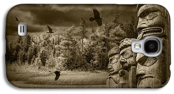 Selenium Galaxy S4 Cases - Flying Ravens and Totem Poles in Sepia Tone Galaxy S4 Case by Randall Nyhof
