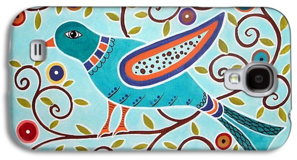 Modern-art Paintings Galaxy S4 Cases - Folk Bird Galaxy S4 Case by Karla Gerard