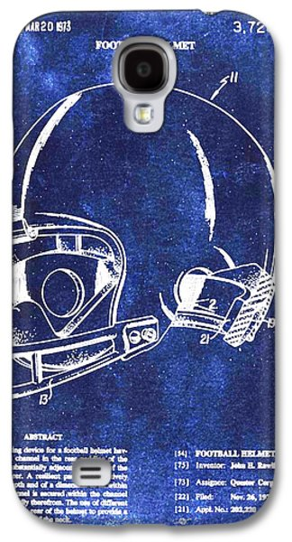 Gear Mixed Media Galaxy S4 Cases - Football Helmet Patent Blueprint Drawing Galaxy S4 Case by Tony Rubino